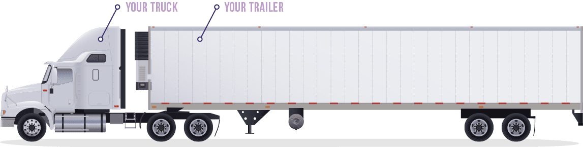 """A white Prime, Inc. truck pulling a refrigerated trailer with the word """"Your Truck"""" and """"Your Trailer"""" above it."""